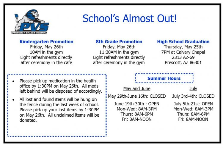 Parents and Guardians, End of Year info