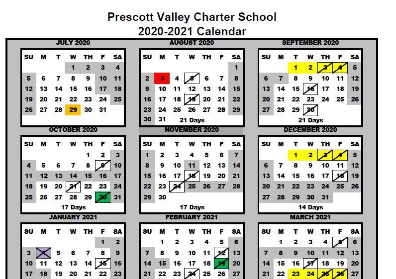 Nau 2021 Calendar 2020 2021 Academic Calendar | Prescott Valley School